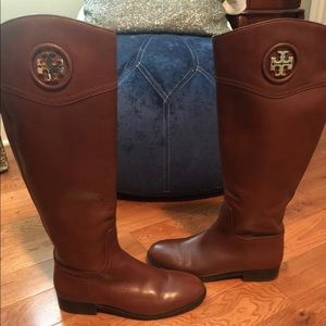 Tory Burch knee-length brown leather boots